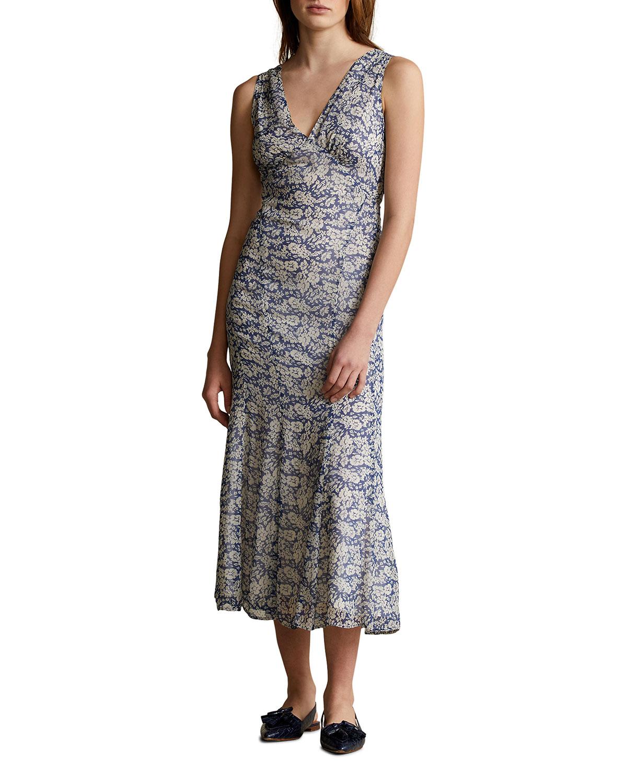 Polo Ralph Lauren Linings FLORAL-PRINT LONG SLEEVELESS DRESS