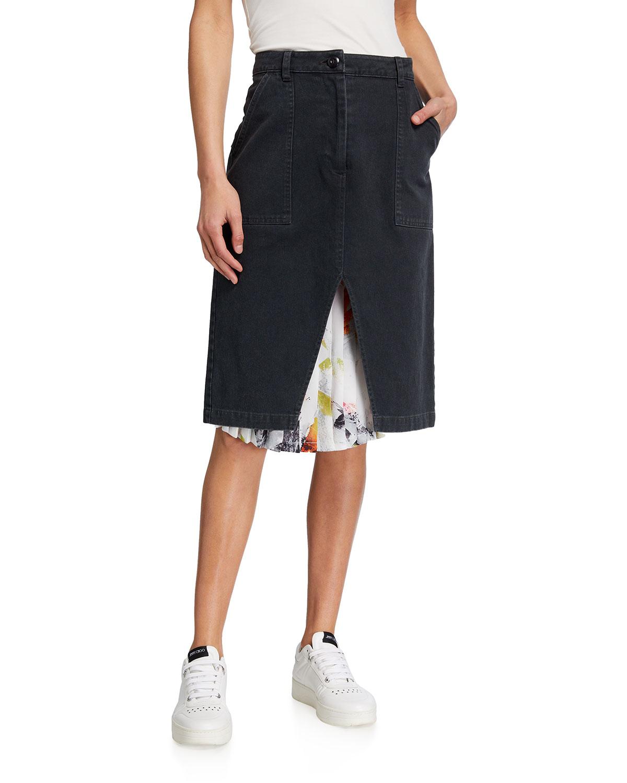 Undercover Pleats Twill Skirt