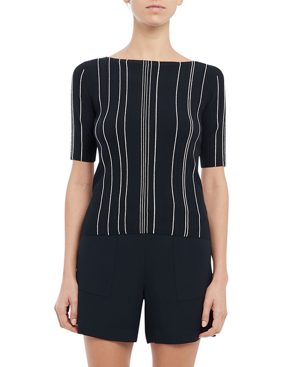 Theory HANKSON STRIPED SHORT-SLEEVE KNIT TOP