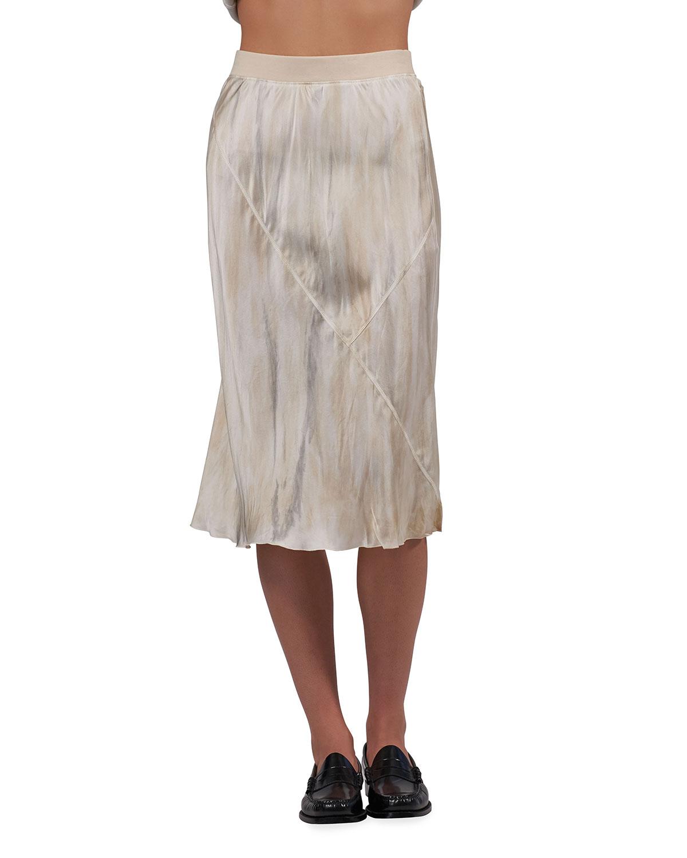 Silk Watercolor Midi Skirt
