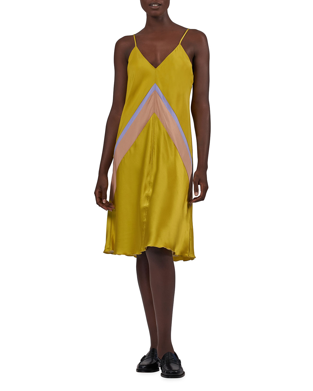 Atm Anthony Thomas Melillo Silks SILK COMBO BIAS-CUT SLIP DRESS