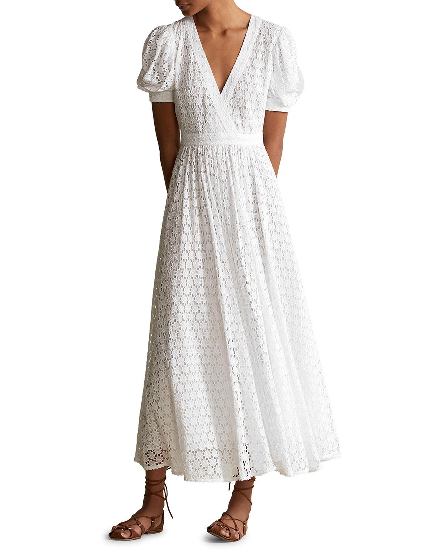 Polo Ralph Lauren Cottons V-NECK PUFF-SLEEVE LONG EYELET COTTON DRESS