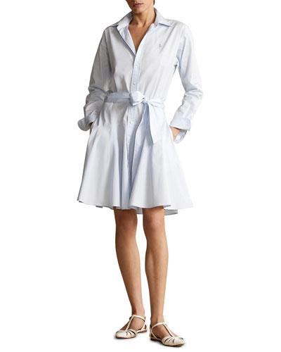 Cotton Long Sleeve Shirt Dress   Neiman Marcus