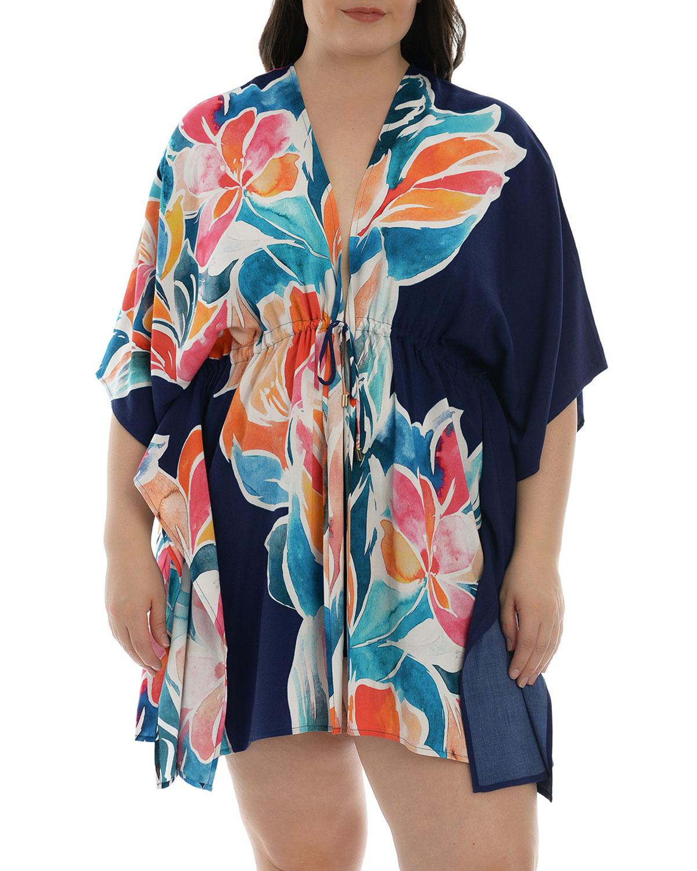 Plus Size Petals Short Coverup Kimono