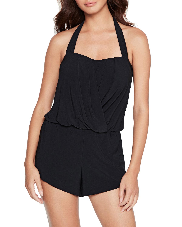 Brooke Halter One-Piece Romper Swimsuit