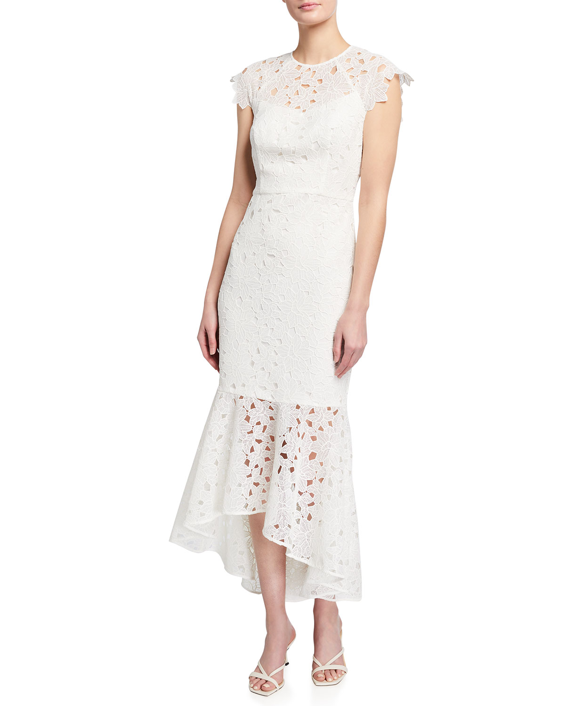 Shoshanna Linings CAP-SLEEVE LATTICE FLORAL LACE HIGH-LOW DRESS