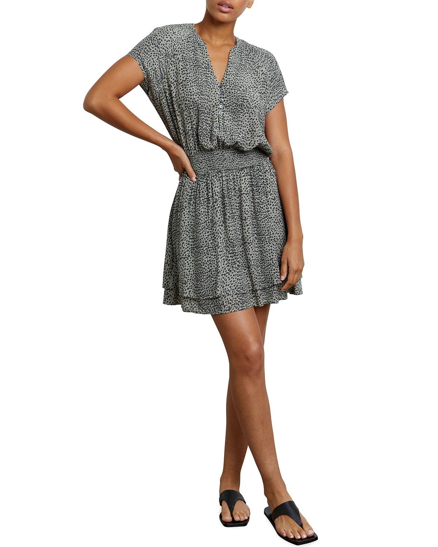 Rails Mini dresses KARLA CREPE SMOCKED ANIMAL-PRINT DRESS