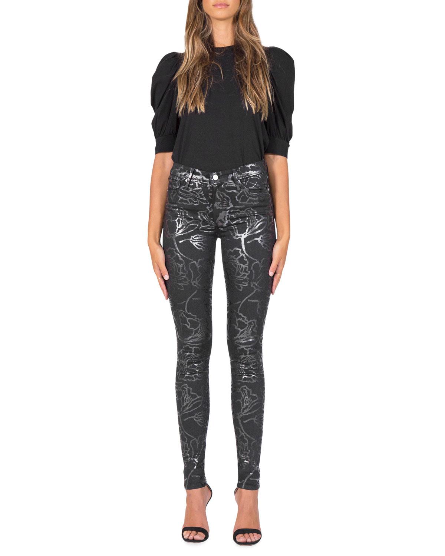 Gisele High-Rise Foil-Print Skinny Jeans