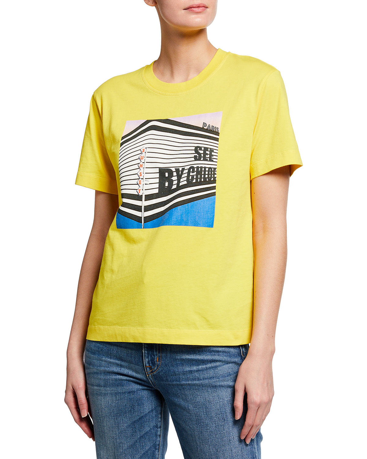 See By Chloé CREWNECK LOGO GRAPHIC TEE
