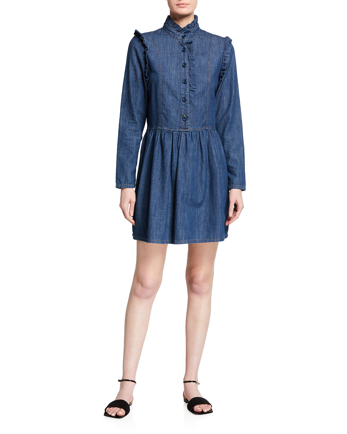 See By Chloé Denims DENIM BUTTON-FRONT RUFFLE DRESS