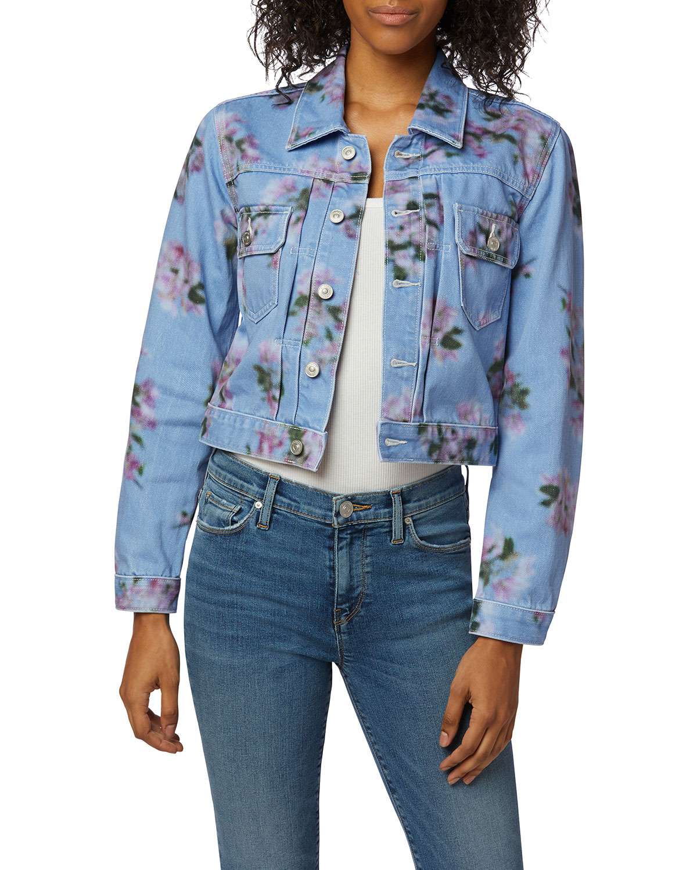 Lola Floral-Print Shrunken Trucker Jacket
