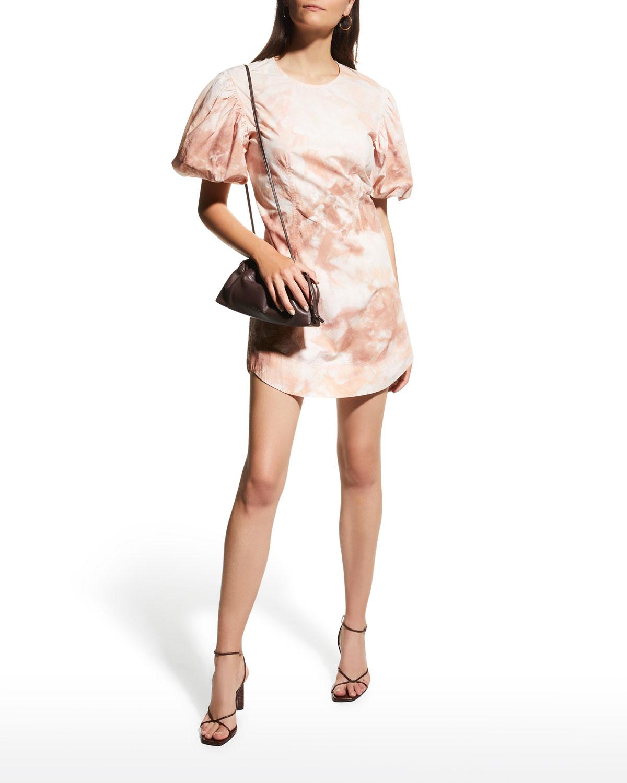 Jess Tie-Dye Puff-Sleeve Short Dress