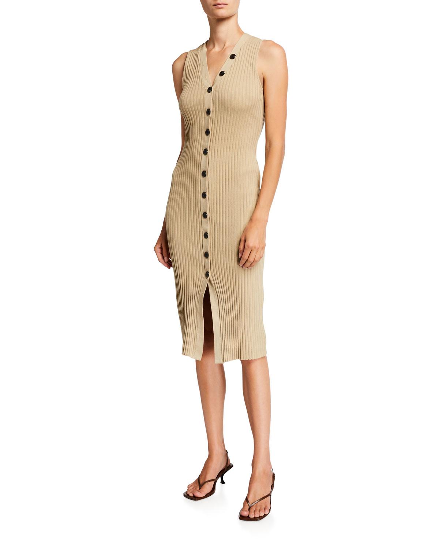 Rib Sweater-Knit Sleeveless Dress