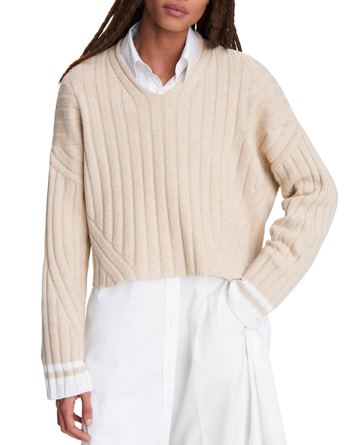 Rag & Bone SERENA CROPPED V-NECK SWEATER