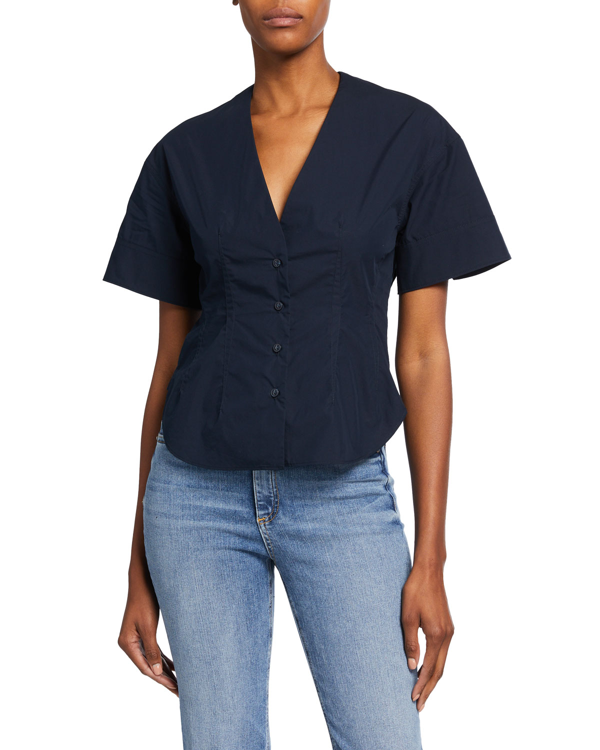 Rag & Bone VICTORINE POPLIN SHORT-SLEEVE SHIRT