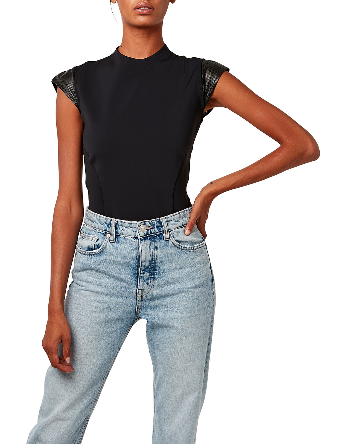 Rio Neoprene Top with Leather Cap Sleeves