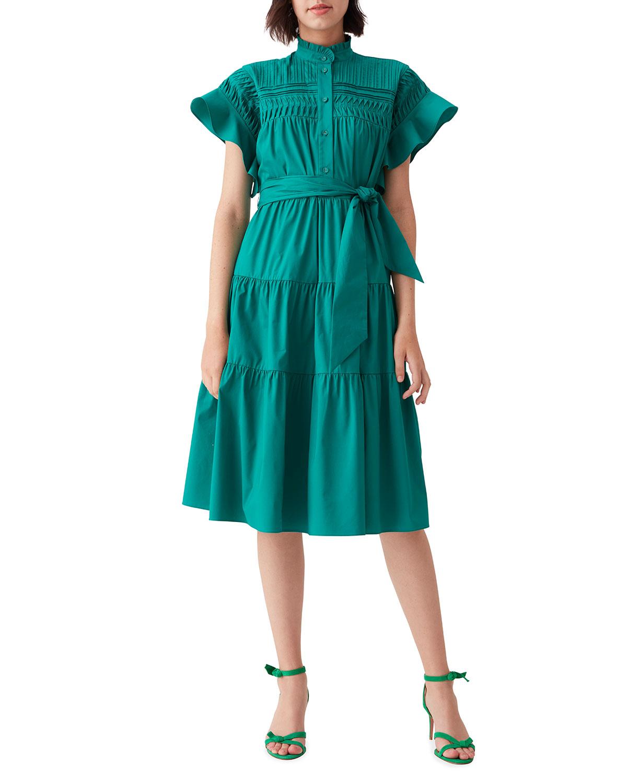 Diane Von Furstenberg EBBA PLEATED COTTON BELTED DRESS