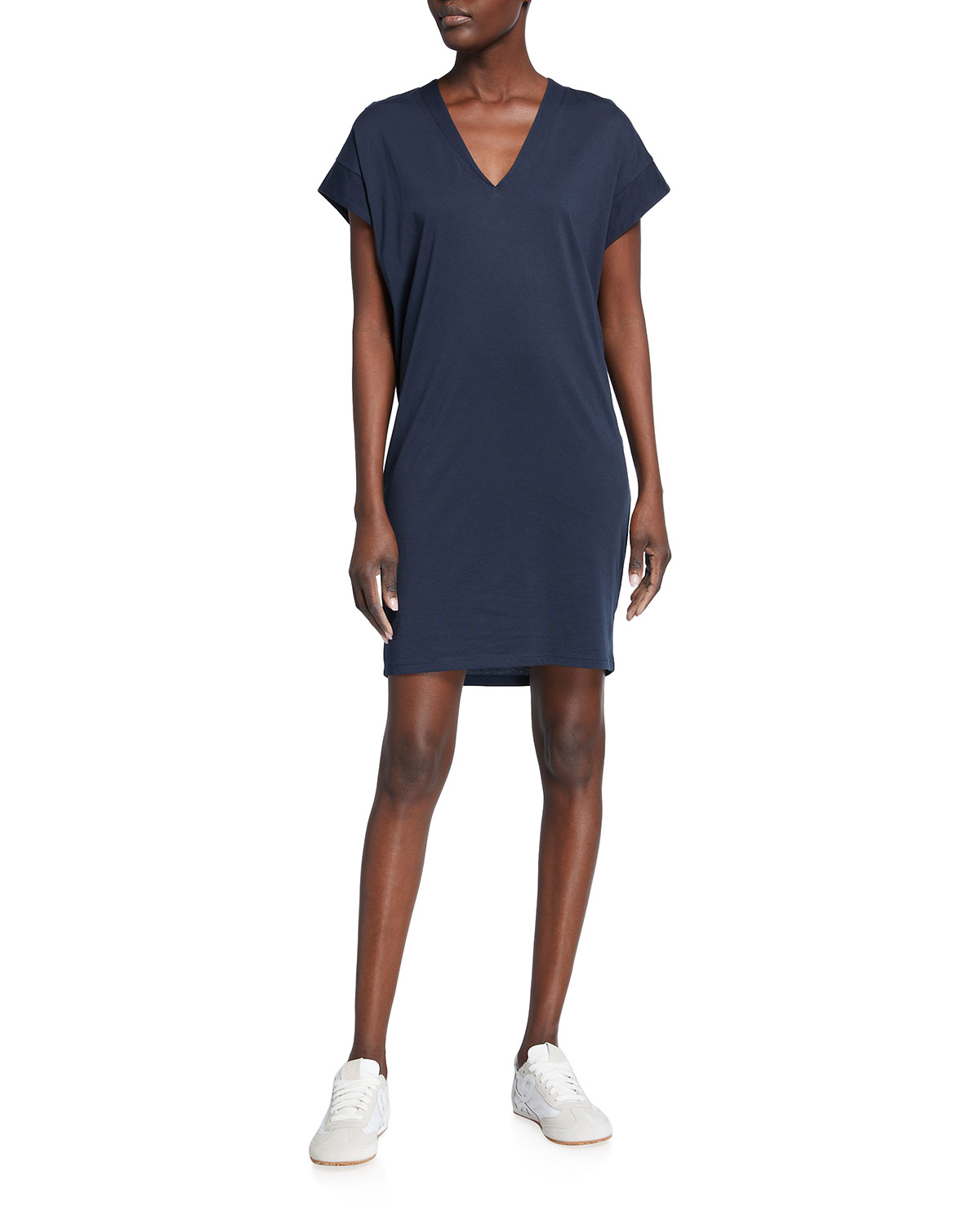 Frame V-neck Mini Jersey Dress In Navy