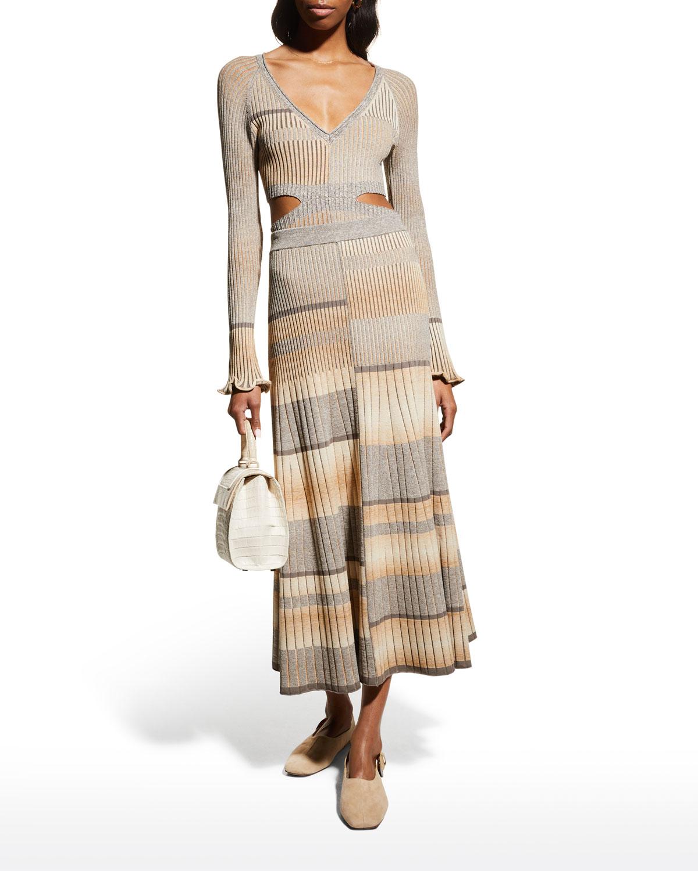 Louise Striped Spacedye Midi Skirt