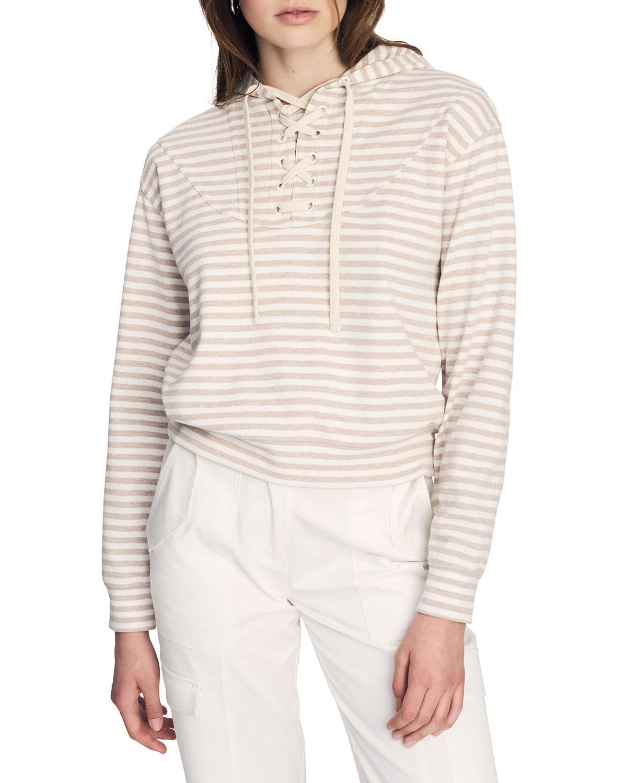 Georgie Striped Tie-Front Sweatshirt