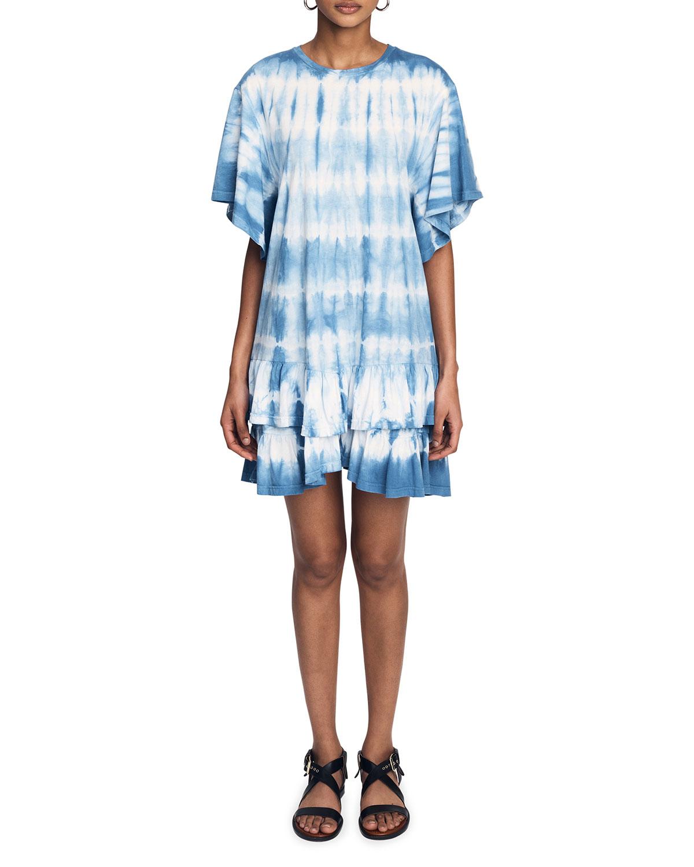 Lois Short-Sleeve Ruffle Tie-Dye Dress