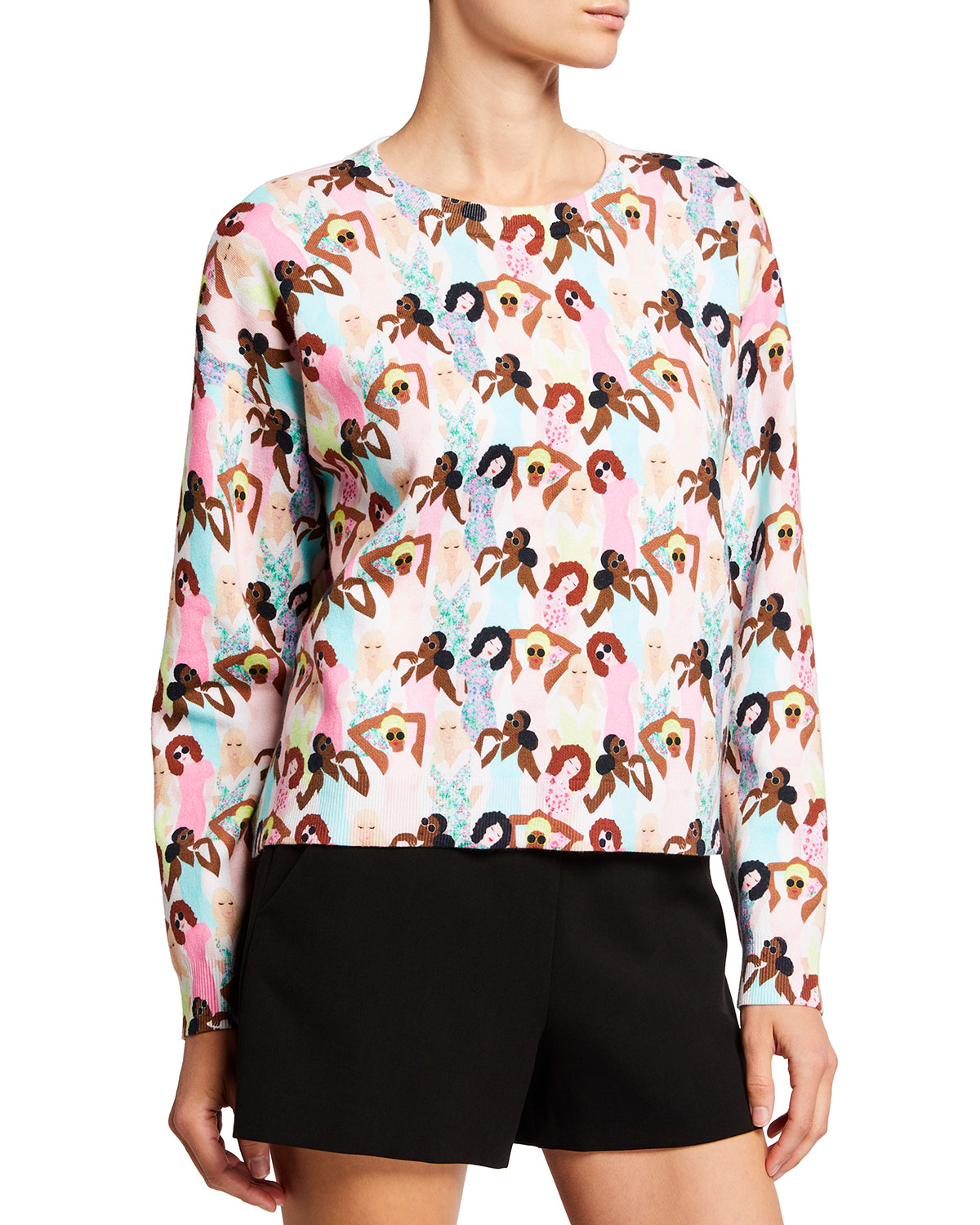 Alice And Olivia Dresses GLEESON PRINTED BOXY PULLOVER SWEATER