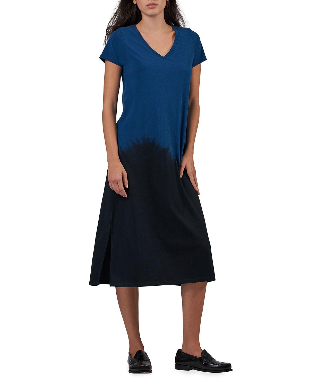 Dip-Dye V-Neck Short-Sleeve Dress