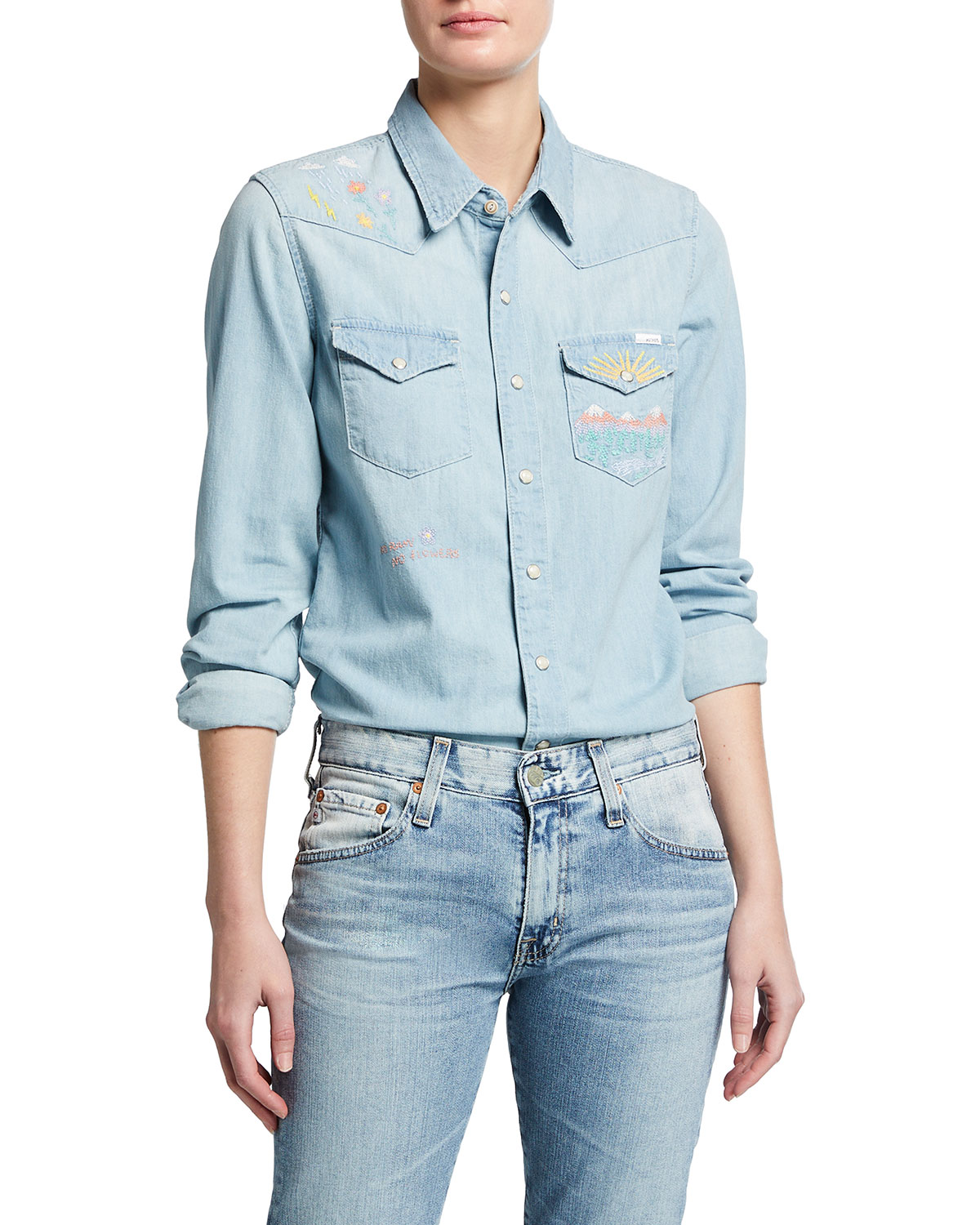 All My Exes Embroidered Denim Shirt