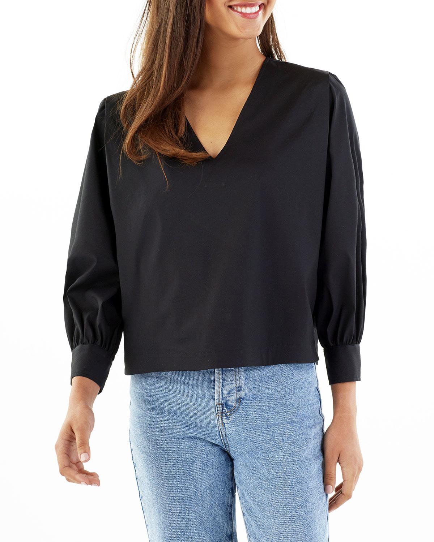 Lisa V-Neck Solid Poplin Shirt