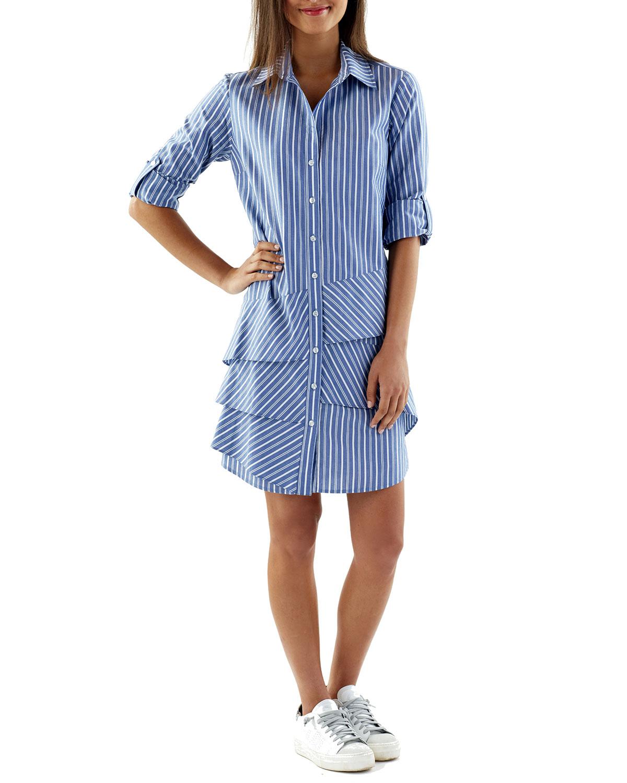 Jenna Indigo Striped Flounce Shirtdress