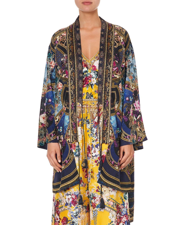 Layering Silk Kimono with Neck Bands