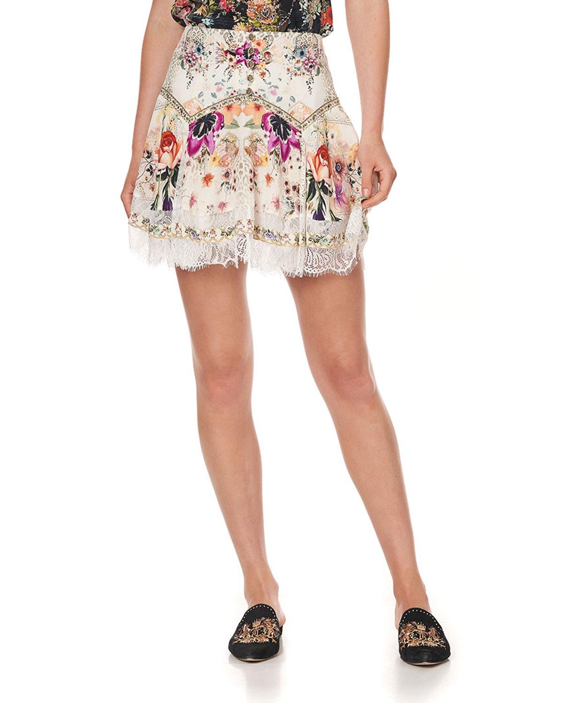 Silk Mini Skirt with Shaped Yoke