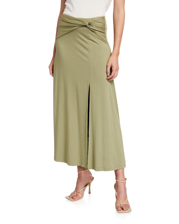Gianna Twist-Front Jersey Skirt
