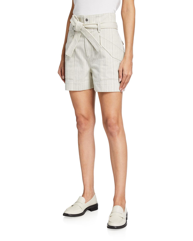 Rag & Bone Shorts STRIPED HIGH-RISE CARGO SHORTS