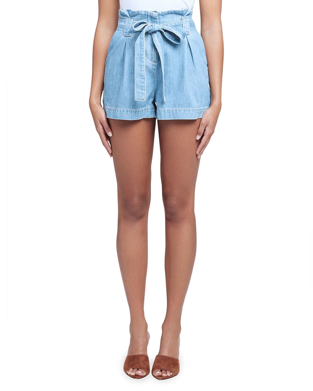 Hillary Chambray Paperbag Shorts