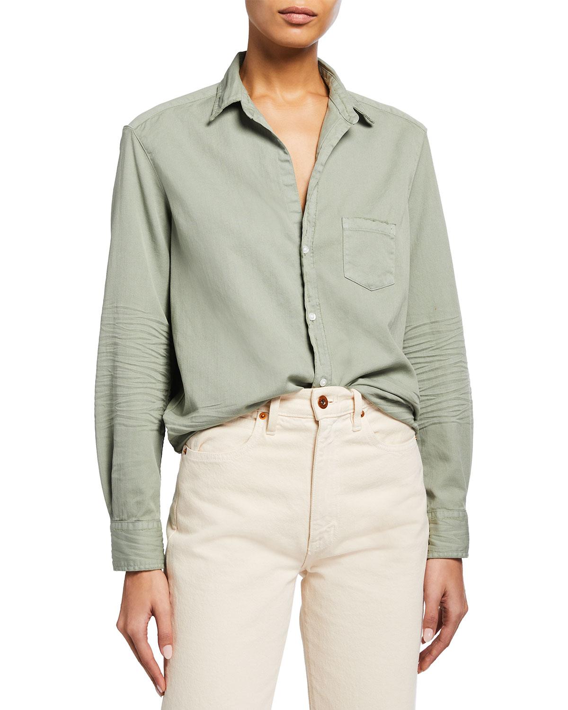 Eileen Crinkled-Sleeve Button-Up Shirt