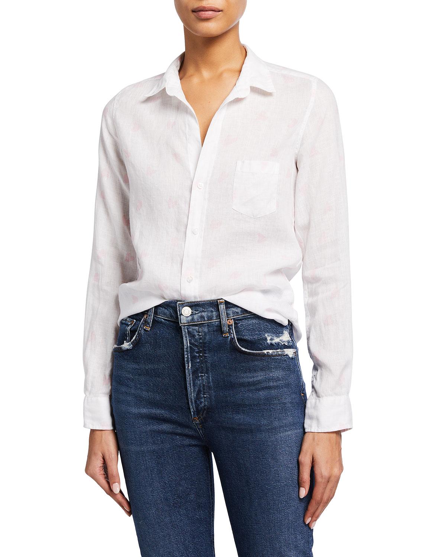 Barry Woven Button-Up Heart-Print Shirt