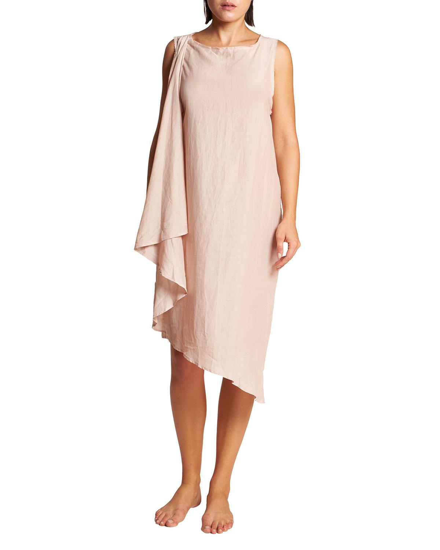 Careyes Draped Seersucker Coverup Dress