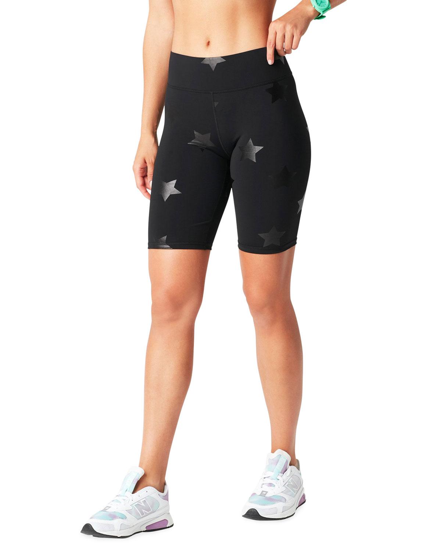 Black Tonal Star Foil UpLift Bike Shorts