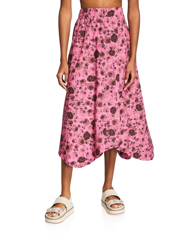Printed Midi Cotton Poplin Skirt