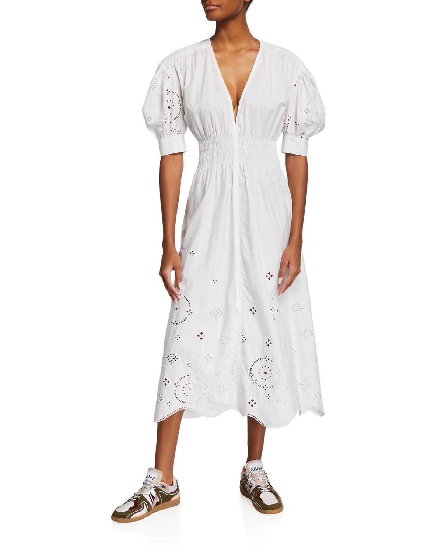 Broderie Anglaise Organic Cotton Midi Dress