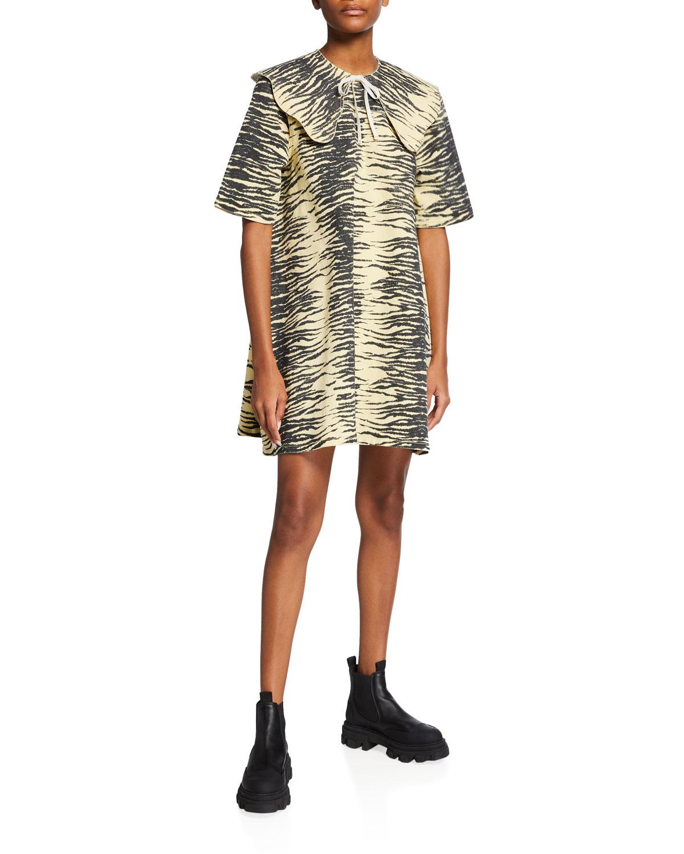 Printed Denim Mini Dress
