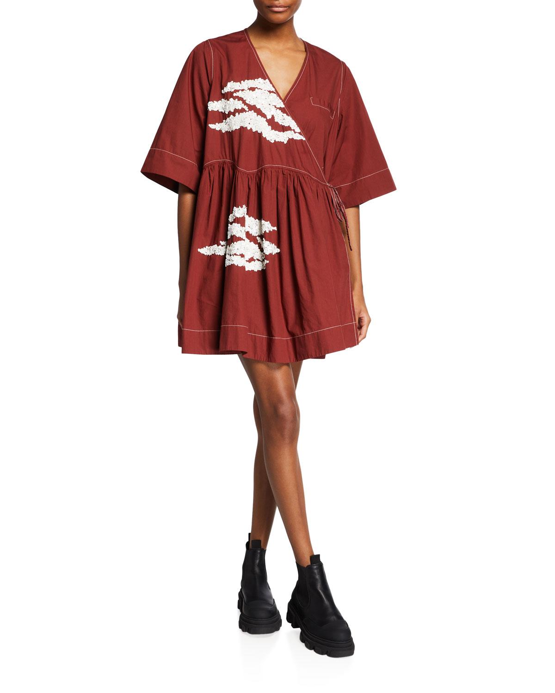 Wide Embellished Cotton Mini Wrap Dress