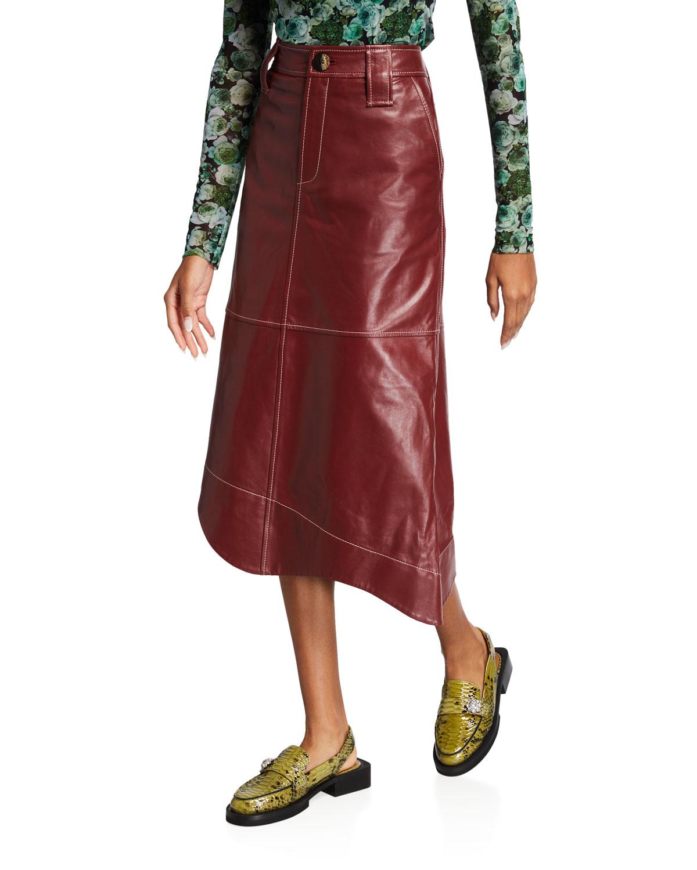 Asymmetric Lamb Leather Skirt