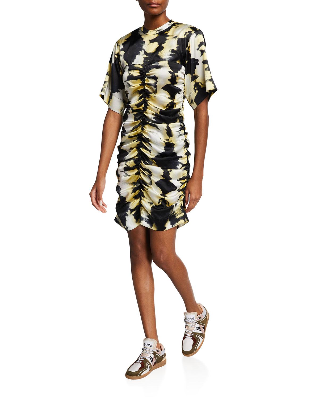Satin Ruched Mini Dress