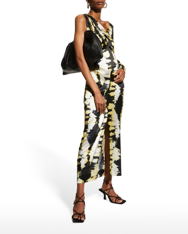 One-Sleeve Silk Stretch Satin Dress
