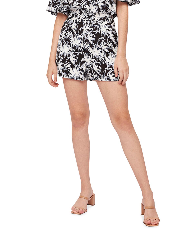 Edria Palm-Print Shorts