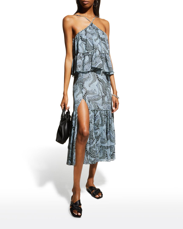 Colette Printed Halter Ruffle Dress
