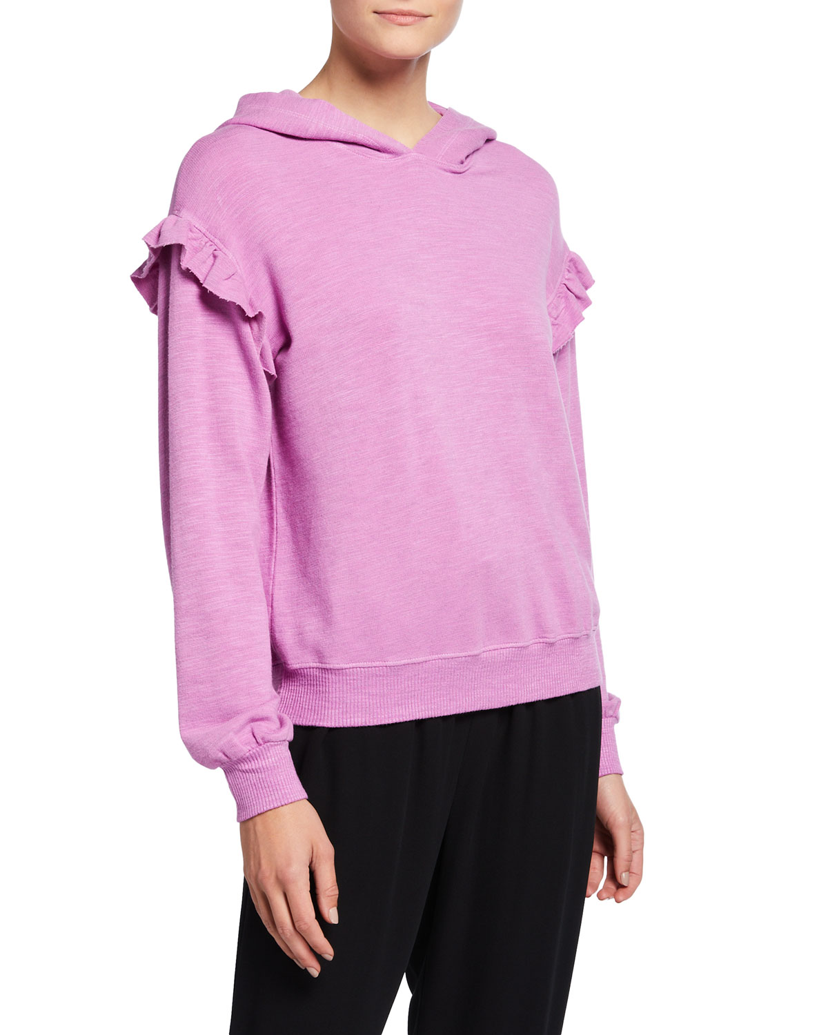 Pullover Hoodie with Ruffles