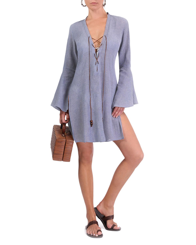 Logan Bell-Sleeve Mini Coverup Dress